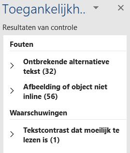 Screenshot van Toegankelijkheidscontrole